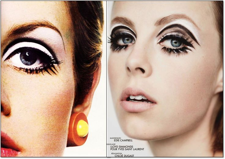 Слева: 1967 г. Модель: Твигги (Twiggy). Фотограф:  Ричард Аведон (Richard Avedon). Справа: Elle. Франция. Сентябрь 2014 г. Модель: Эди Кэмпбелл (Edie Campbell). Фотограф: Лиз Коллинс (Liz Collins). #fashion #fashioninspiration #style #60s #1960s #SperanzaFirsace