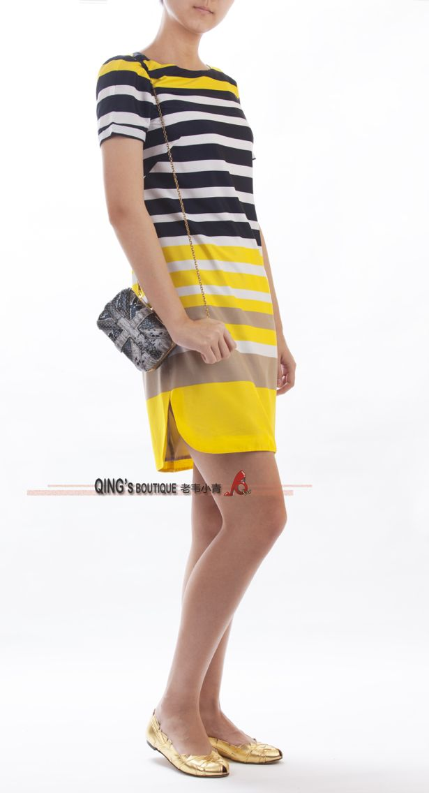 Yellow and the black stripe dress.