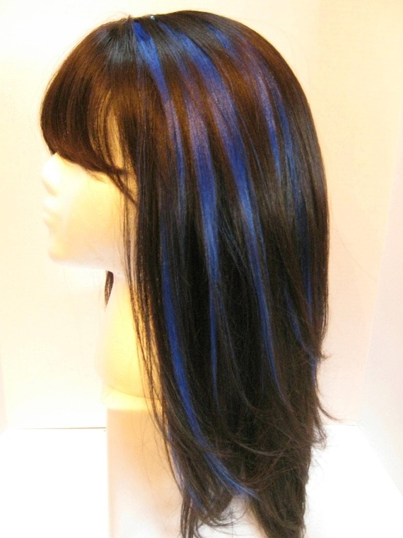 The 25 best blue hair highlights ideas on pinterest colored 12 inch blue highlight clipin human hair by adornmentassortments 1500 httphonestlywtf pmusecretfo Images
