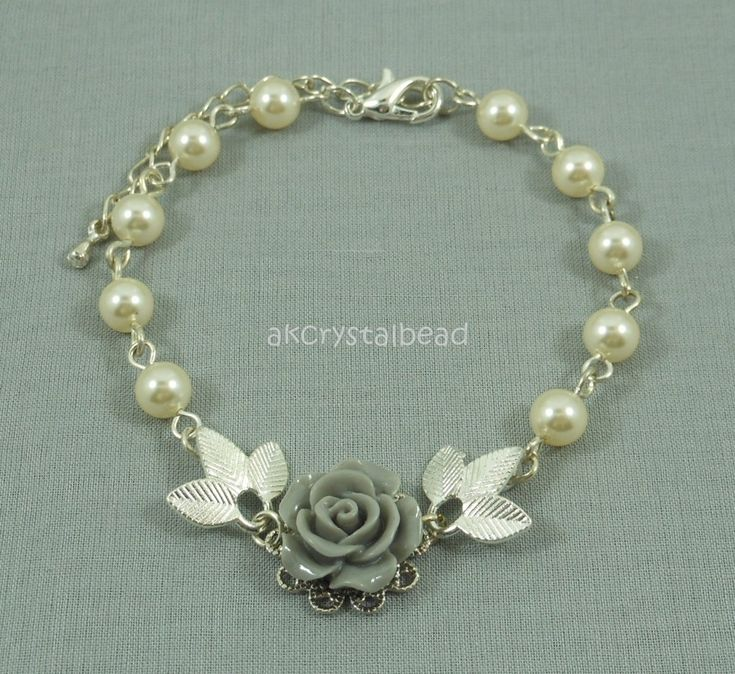 Swarovski cream pearl and grey rose flower cabochon bracelet.  FSM0077