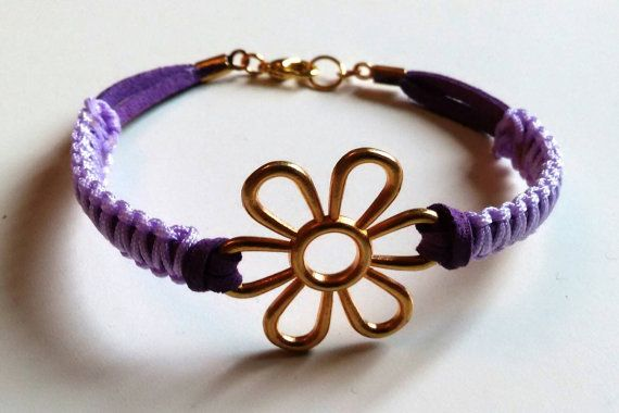 Purple suede macrame bracelet with goldtone by personal2treasures