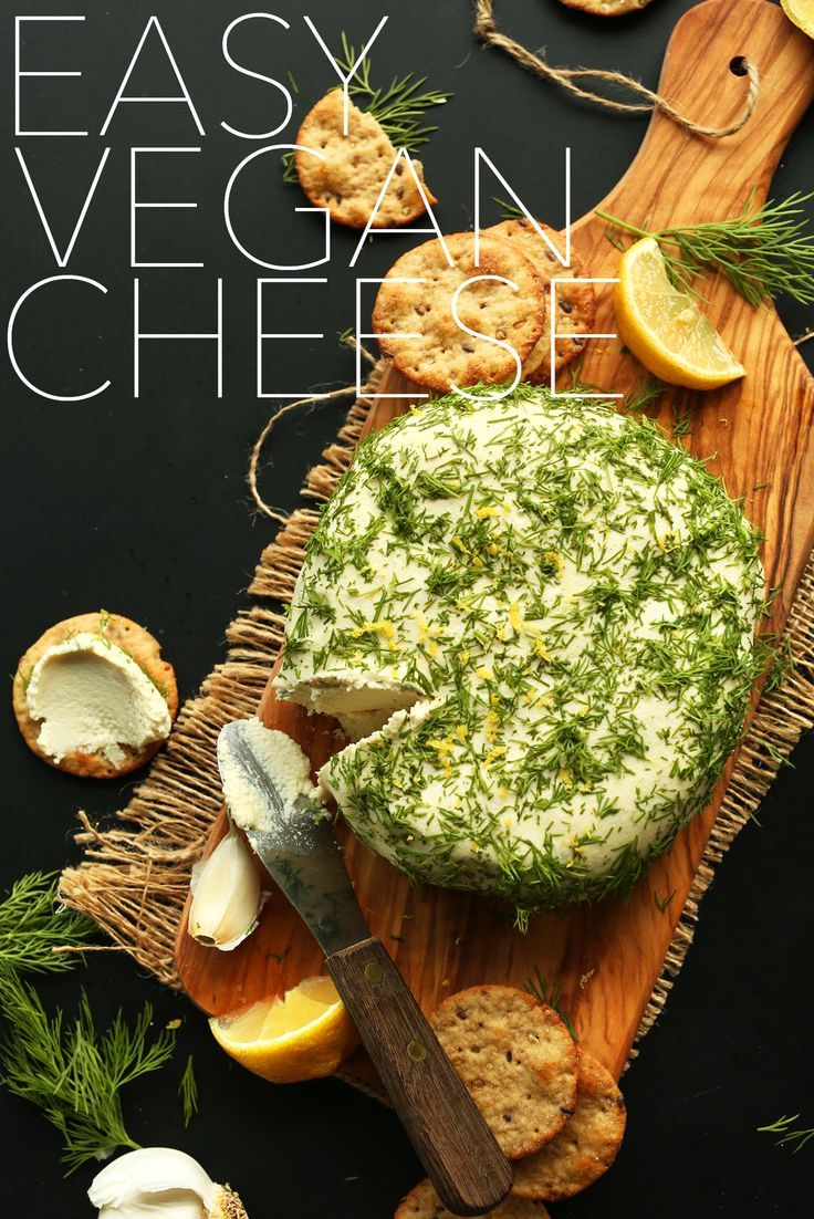 EASY VEGAN CHEESE! Just 8 ingredients, creamy, garlic and dill infused, SO delicious vegan, gluten-free cheese recipe