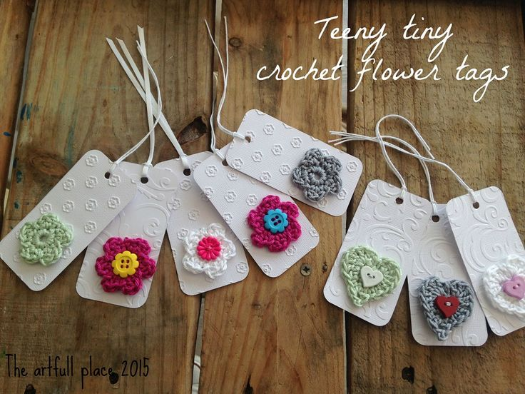 'Teeny tiny' hand made crochet flower tags. For more details, visit my blog -http://theartfullplace.blogspot.com/