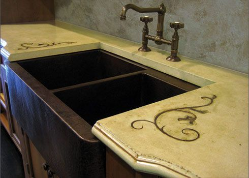Rustic concrete countertop with a copper farm sink and iron inlay. 17 Best images about Decor   Farmhouse Sinks on Pinterest   Copper