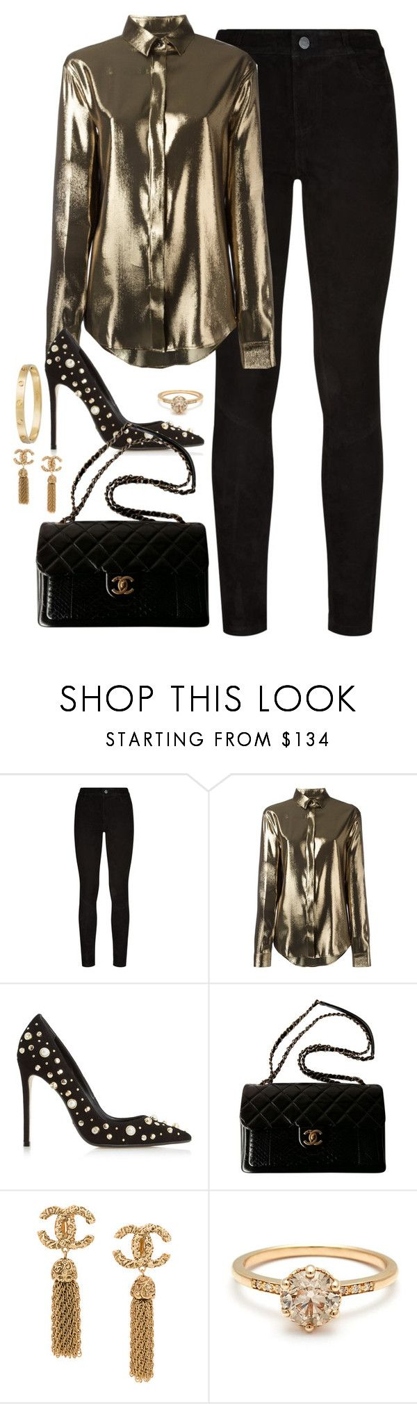 """Untitled #4545"" by magsmccray ❤ liked on Polyvore featuring Paige Denim, Yves Saint Laurent, Dune Black, Chanel and Cartier"