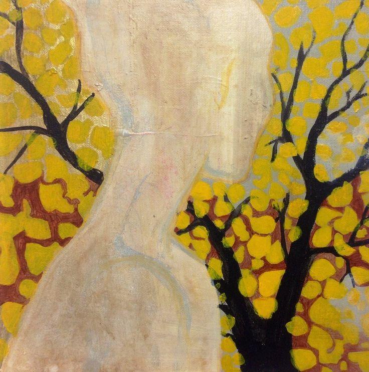 Cathrine Boman - Gule blader, Acryl på lerret, 30 x 30 cm