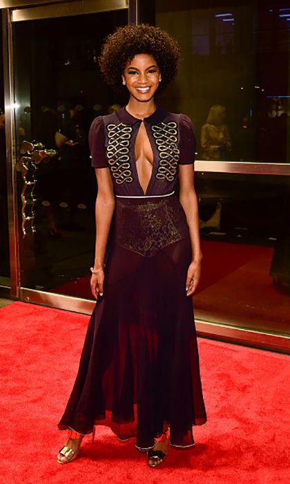 Sports Illustrated model Ebonee Davis wore a stunning Tommy Hilfiger dress paired with Walter Steiger shoes during the New Yorkers For Children's Spring Dinner Dance: A Fool's Fete in NYC