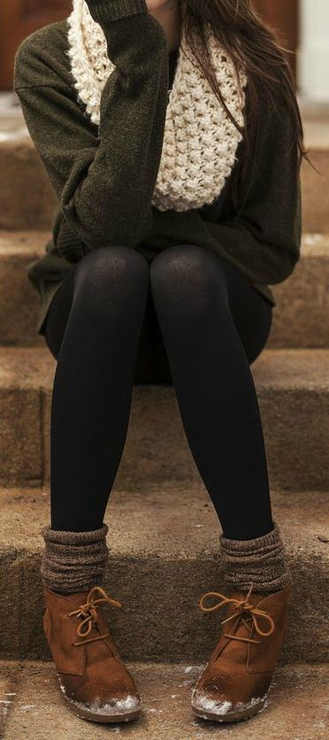 dark grey charcoal sweater, black tights/leggings, light grey wool socks, brown boots, and white knit infinity scarf.