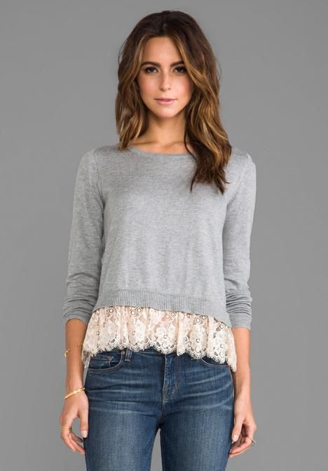 Refashioned Sweater with Lace | DIY ideas to upcycle, recycle restyle any teeshirt, blouse or skirt. Sewing crafts trendy fashion ideas.