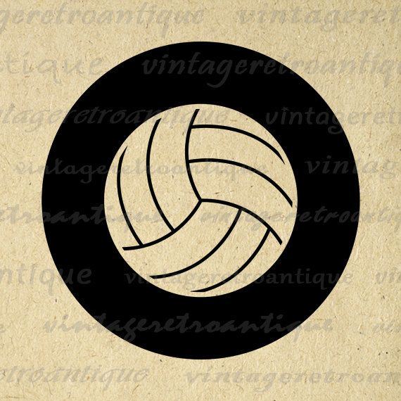 Printable Graphic Volleyball Download Sports Digital Volleyball Image Antique Clip Art for Transfers Making Prints etc HQ 300dpi No.4553