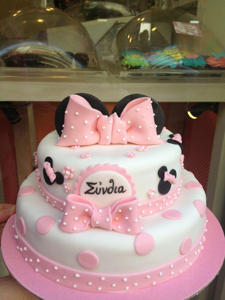 Τούρτες Γενεθλίων - Διόροφη Μίνι Μάους! #sugarela #TourtesGenethlion #MiniMouse #pink #BirthdayCakes