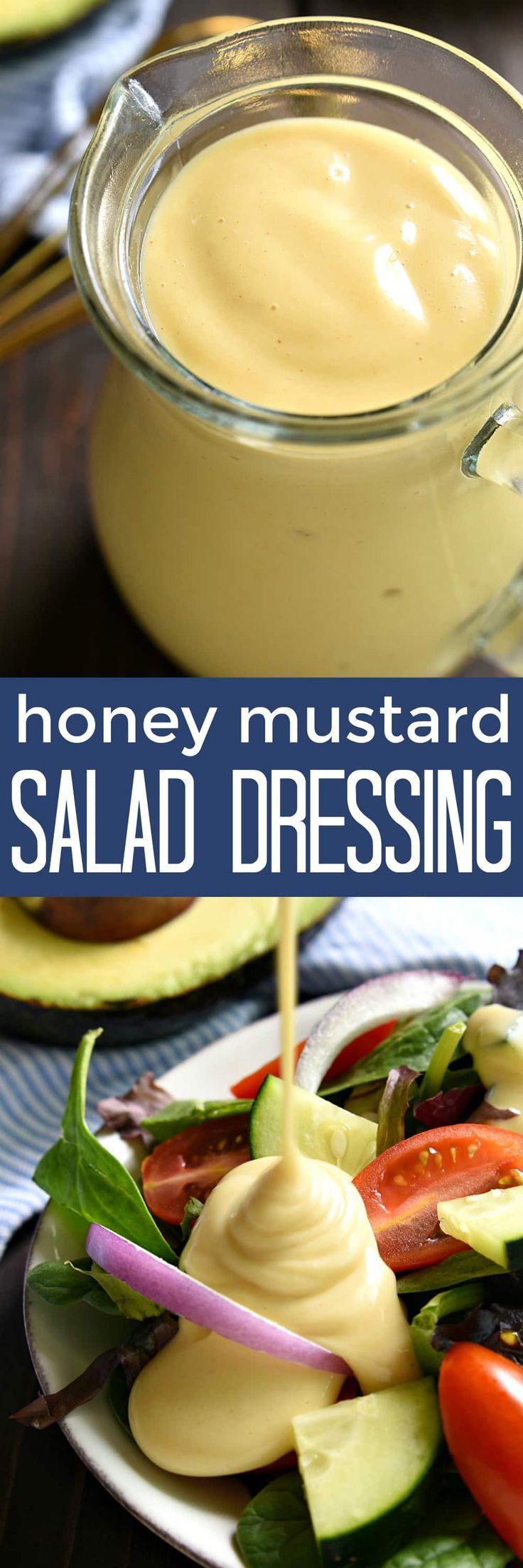 Honey Mustard Salad Dressing - made with just 5 ingredients and ready in no time at all! The perfect topping for any salad….and it also makes a delicious dip!