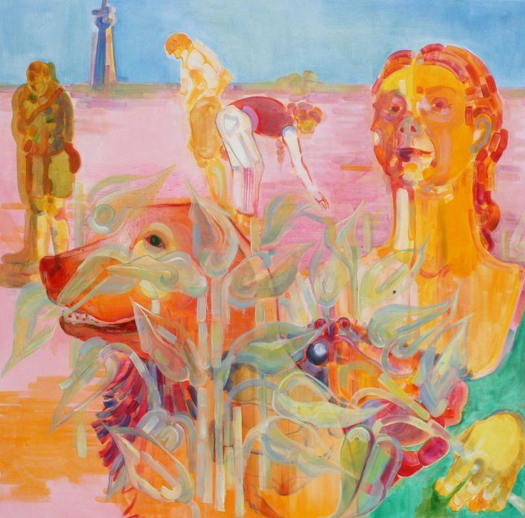 'Millenka',oil painting canvas, 129,5cm x 130,5cm by Indira Hamaker