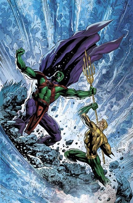 Martian Manhunter vs Aquaman. Two awesome heroes going toe to toe