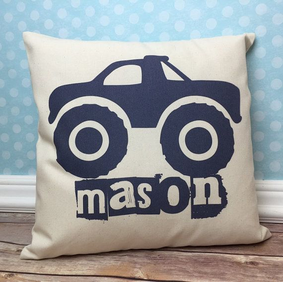 Monster Truck Pillow by ItsyBitsyWear. Great personalized Pillow for a kids bedroom.