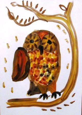 Как нарисовать сову - уроки рисования гуашью (2)