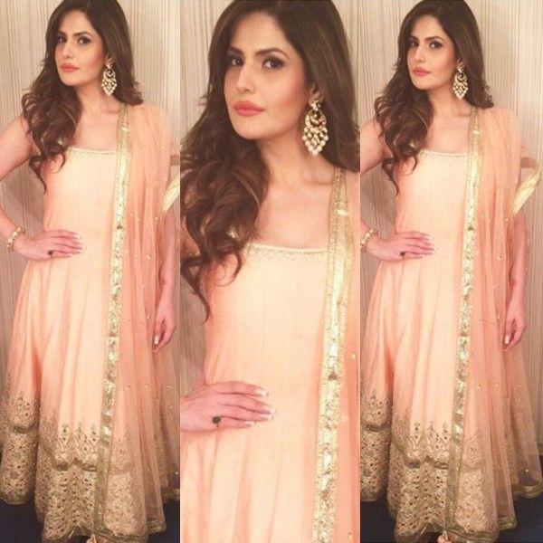 Zarine Khan in a blush pink Anarkali suit