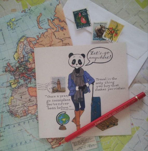 Write a letter! Travel the world! Panda Bear Greeting Card Let's go anywhere by DarlingPandaArt, $3.00
