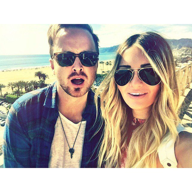 Pin for Later: You Won't Be Able to Get Enough of Aaron Paul's Romance With Lauren Parsekian  Lauren paired this photo with numerous palm tree emoji.