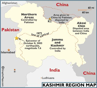 Kashmir is an area on the northern borders of India and Pakistan and the southwestern border of China....