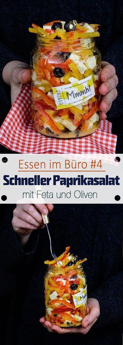 Essen im Büro #4 - Schneller Paprikasalat mit Feta und Oliven