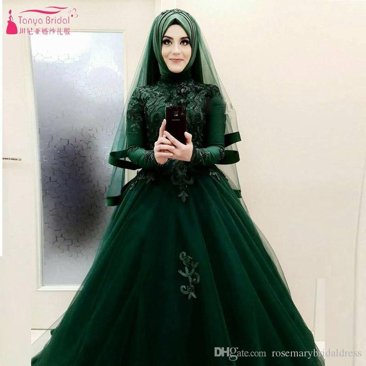 Amazing Beautiful Dark Green Wedding Ball Gowns African Hijab Bridal Dresses Long Sleeve Vestido De Noiva Designer Gown Discount Bridal Gowns From Rosemarybridaldress, $242.22| Dhgate.Com