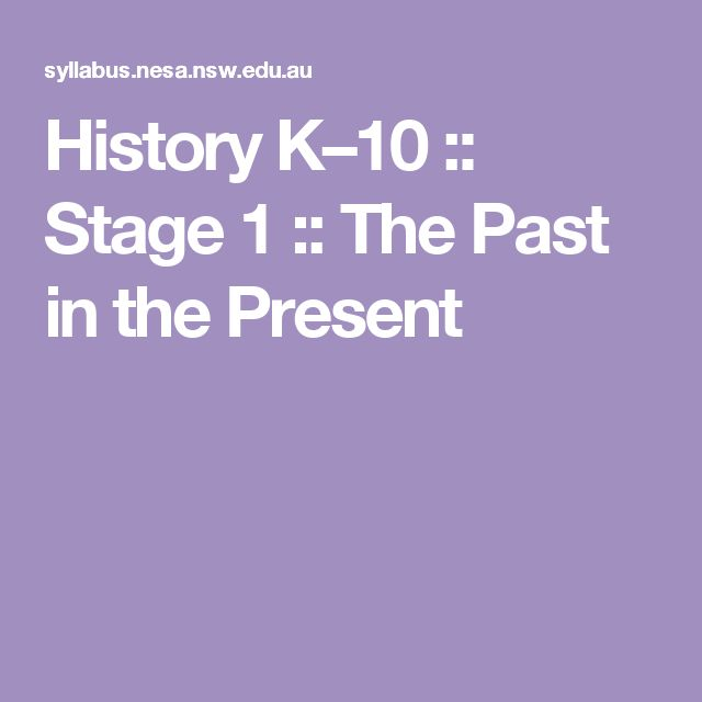 History K–10 :: Stage 1 :: The Past in the Present