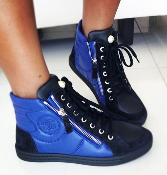 Blue Chanel high top tennis shoes