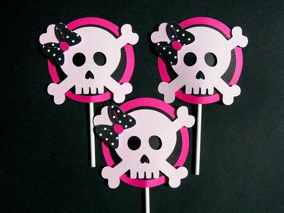 girly pirate cupcake topper