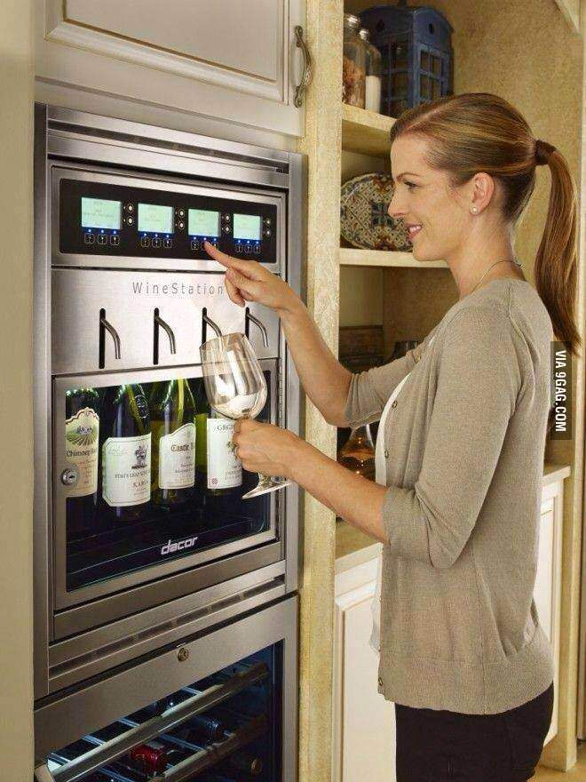 This Dacor fridge stores and preserves 4 bottles of wine at a time. It allows you to draw from whichever one you choose without fear of the bottle going bad before you finish it (obviously a problem for light drinker me, yes?). Goodbye, retirement fund.