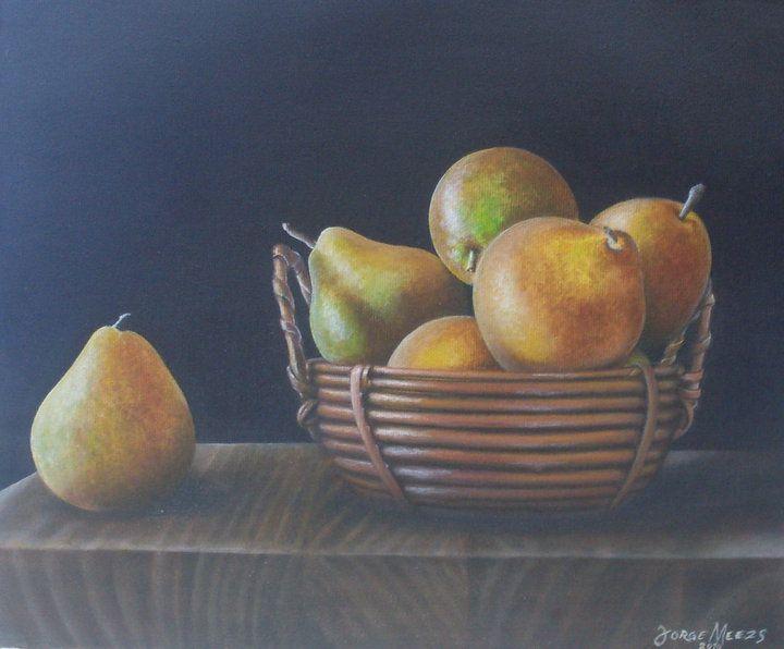 Oleo, peras, frutas, naturaleza muerta
