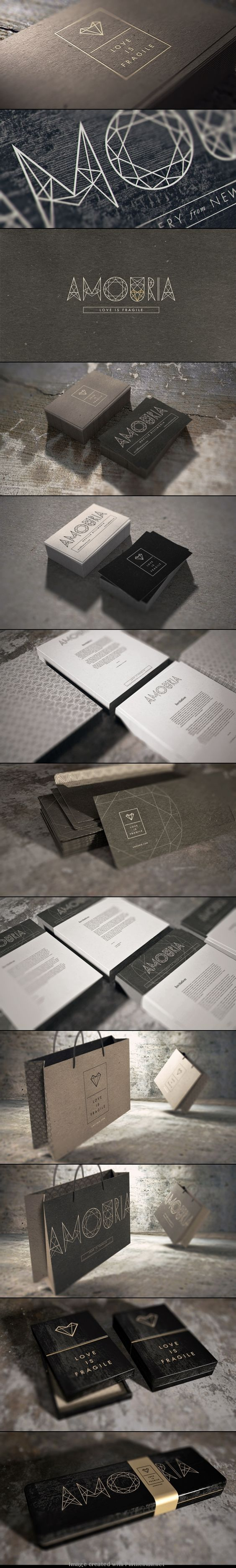 Amouria Jewelry branding, stationary and packaging design via Behance.: