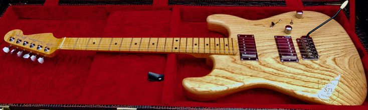 Custom Shop Stratocaster, Swamp Ash in one piece, Flame maple neck and Dimarzio PAF Classic humbucker set.  Made by Custom Shop S71.  -S71Guitars-