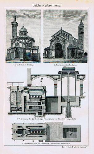Antique Print Crematorium in Hamburg & Manchester Germany Meyers 1905 $9.99