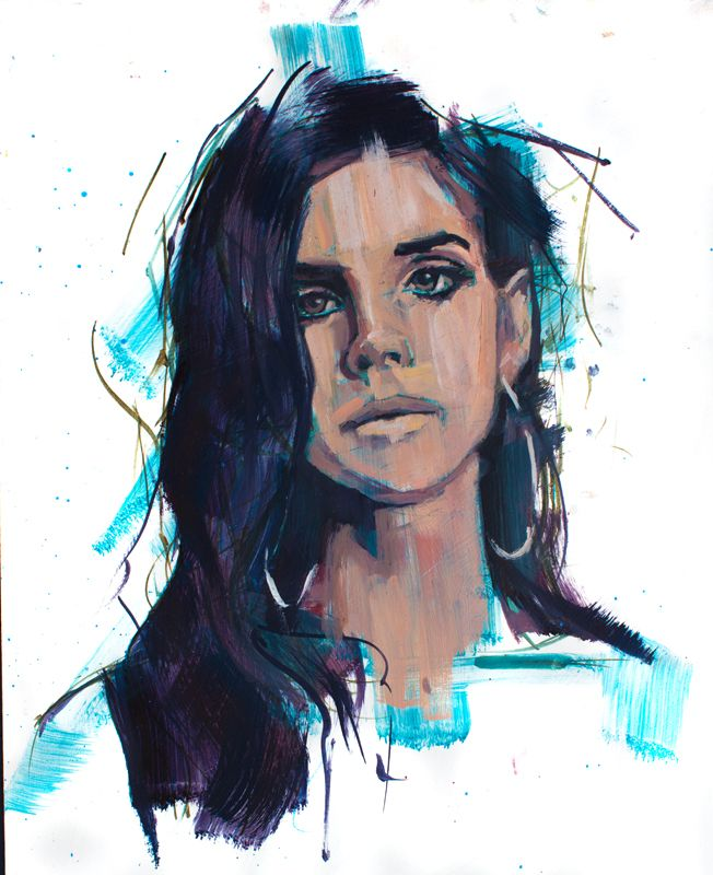 Lana Del Ray. oil on board. Jamel Akib