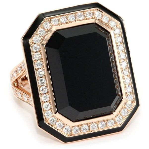 "Ivanka Trump ""Octagonal"" Cocktail Ring with Black Onyx and Diamonds ($3,250) ❤ liked on Polyvore"