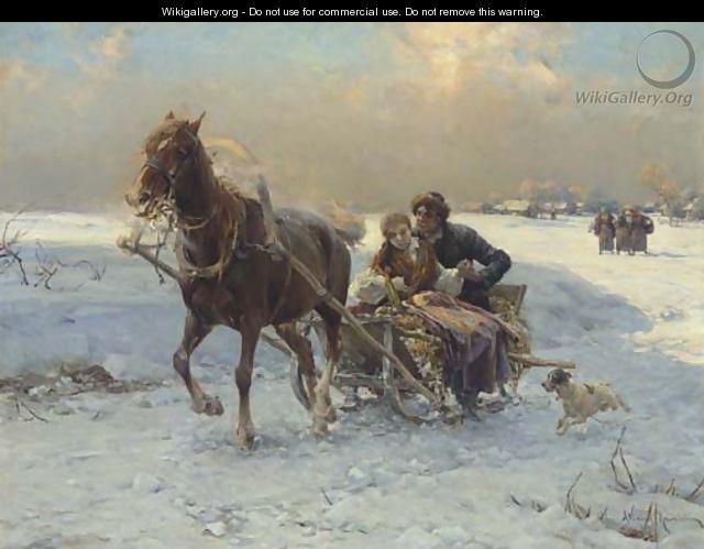 sleigh ride photos public domain | Sleigh Ride I - Alfred Wierusz-Kowalski