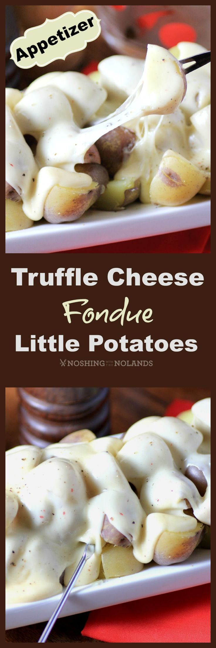 Truffle Cheese Fondue Little Potatoes by Noshing With The Nolands is an exquisite appetizer for the holidays. Their purple Chilean Splash of colour makes them a fun Creamer potato.