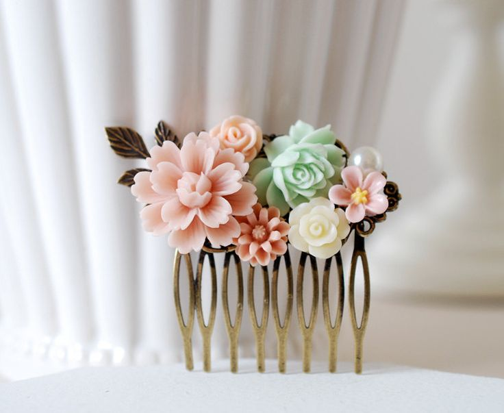 Flowers Collage Hair Comb. Pink Mint Green Ivory Rose by LeChaim, $25.50