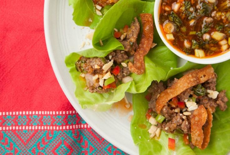 Beef Larb with Crunchy Wonton Skins and Thai Sweet and Sour Sauce.