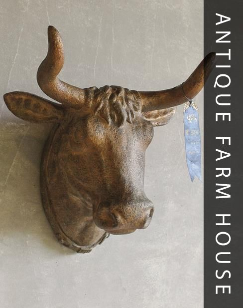 antique looking cow head adds farmhouse style