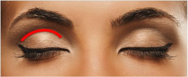 Overhangende oogleden maak je zo op: 1.Maak je hele bewegend ooglid (onder streep) licht. 2.Maak je acadeboog (is streep) donker en vaag iets uit naar boven tot over het bot. 3.Licht huid onder wenkbrauw op met een lichte kleur. Alles wat licht is komt naar voren en alles wat donker is gaat naar achter. Met andere woorden het overhangende gedeelte valt minder op en je bewegend ooglid juist meer.
