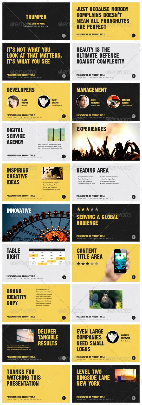 Thumper - Keynote Presentation Template Thumper, agency, awesome, black, bright, contemporary, contrast, creative, designer, furnace, gray, high-contrast, keynote, media, modern, paper, photo, presentation, slide, slide show, vibrant, yellow, Thumper - Keynote Presentation Template
