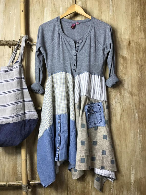 This awesome dress/tunic is perfect for anytime of year and every day and will take you into the night for a movie and fun. Made of a light weight henley style t shirt and soft fabrics that flow for the bottom. Perfect with a pair of jeans! Size Medium Bust - 18 with stretch