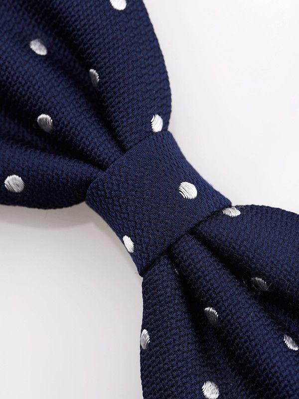 Rosi Collection polka dotted blue silk bow tie