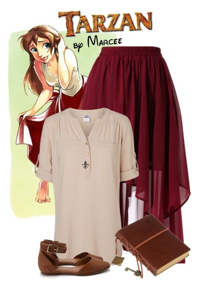 """Jane (Tarzan) Disneybound"" by itsactuallyvictoria ❤ liked on Polyvore featuring Disney, Chicwish, Vero Moda, Retrò, Forever 21, women's clothing, women, female, woman and misses"