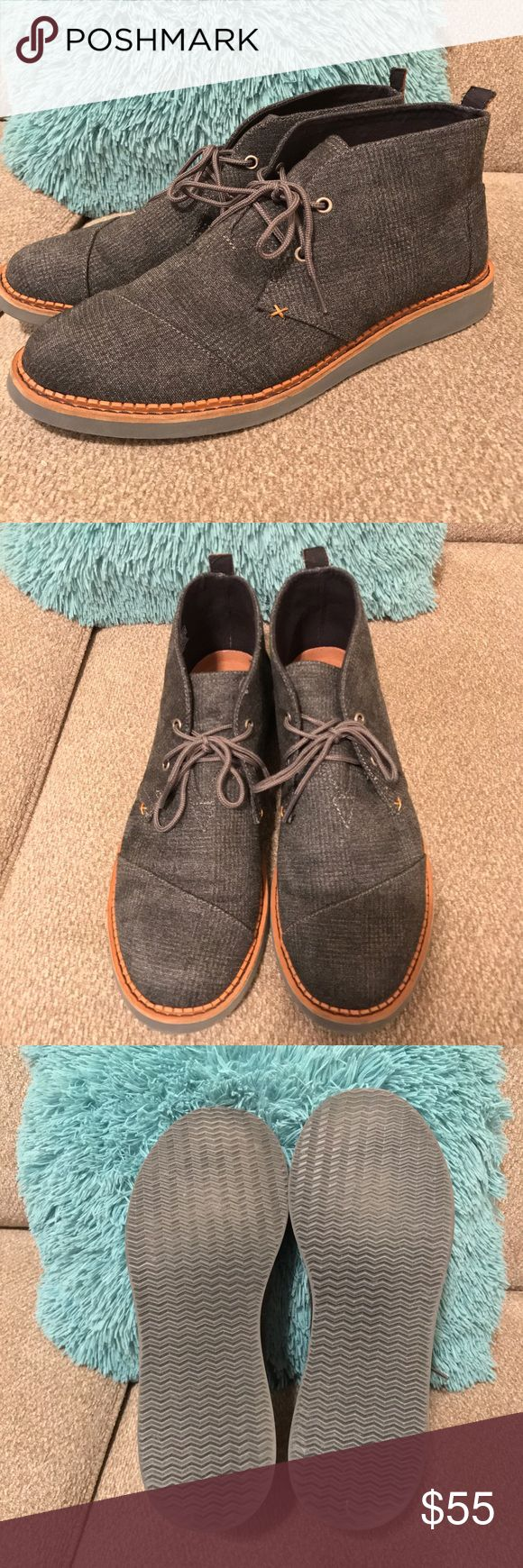 mens Toms boots only worn once Toms size 11 boots. original price is $98.     also available for less in Mer cari. great deal !!!please feel free to ask questions. TOMS Shoes