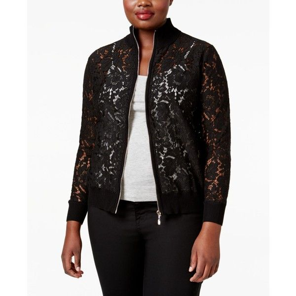 Belldini Plus Size Lace Bomber Jacket ($50) ❤ liked on Polyvore featuring plus size women's fashion, plus size clothing, plus size outerwear, plus size jackets, black, lace blazer, plus size blazers, lace blazer jacket and plus size blazer jacket