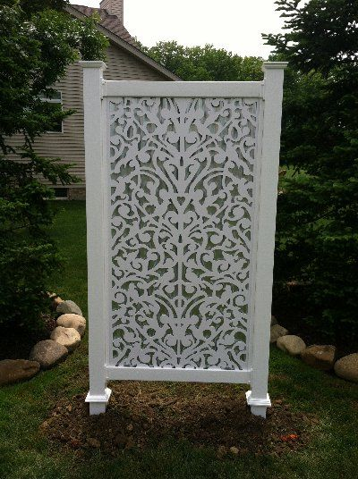 Yard screen white ginger dove use on porch for privacy for Small outdoor privacy screen