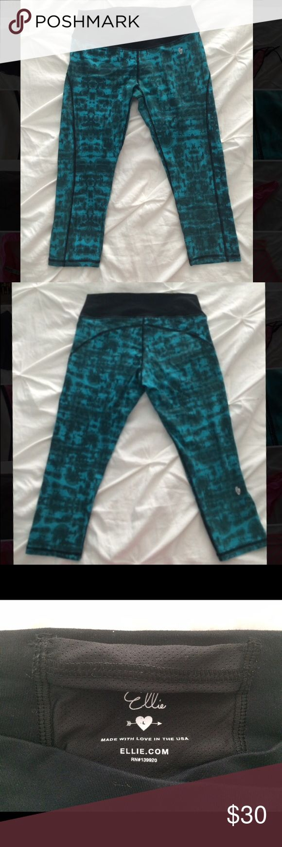 Ellie work out capris Ellie work out capris. Comfortable, flattering waistband. Turquoise and black. Strategically flattering seams. A bit of pilling in upper thigh area only. Perfect stretch. Size L 8/10/12 Ellie Pants